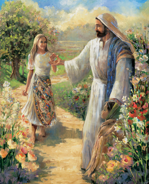Jesus reaching out to take a young woman by the hand