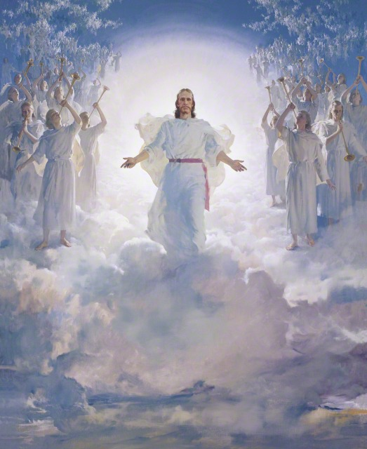 The Second coming of Christ. Christ dressed in white, walking in the clouds, surrounded by angels with trumpets.