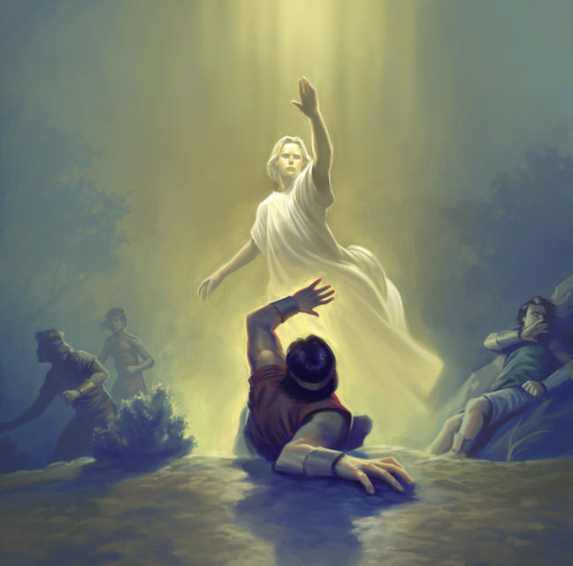 An angel appears to Alma and the sons of Mosiah