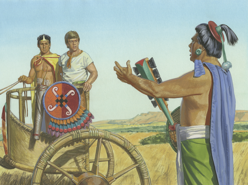 Ammon and King Lamoni meet the King's Father