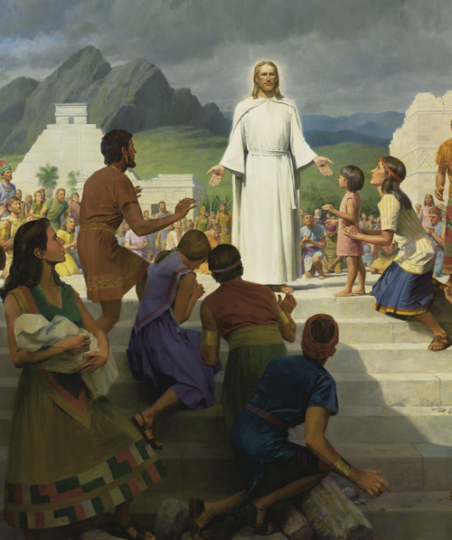 The resurrected Christ visits the people of the Americas
