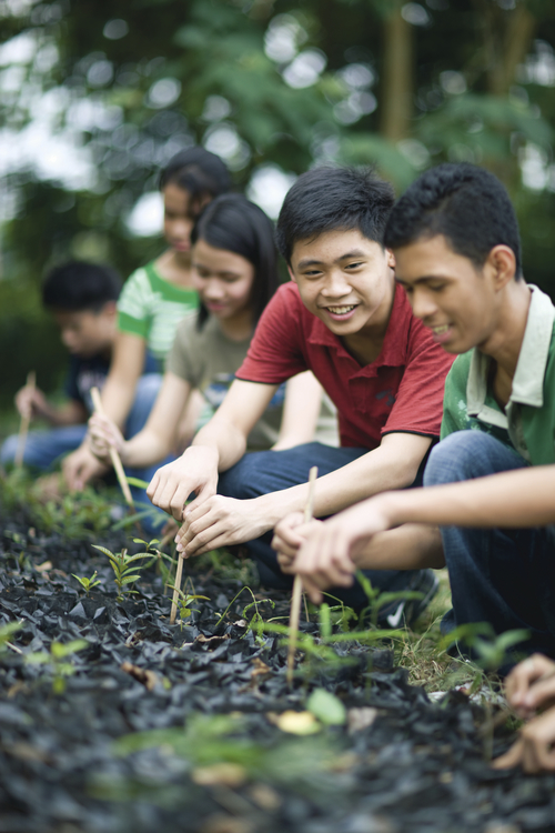 Youth working together to plant a garden