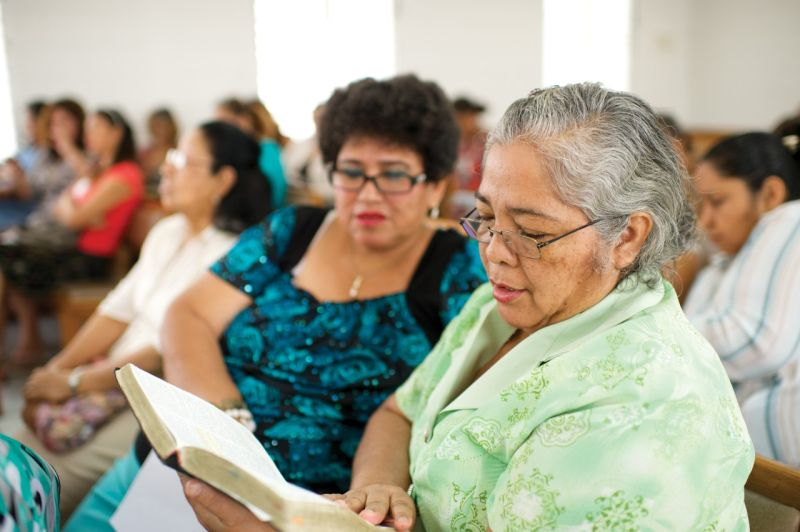 Women sitting together in church